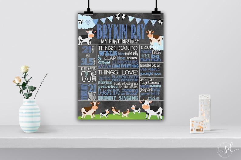 Cowboy Cow Birthday Milestone Chalkboard Poster Farm Party Decor Digital Boy Baby Stats First 1st Birthday Info Board Barnyard Bash