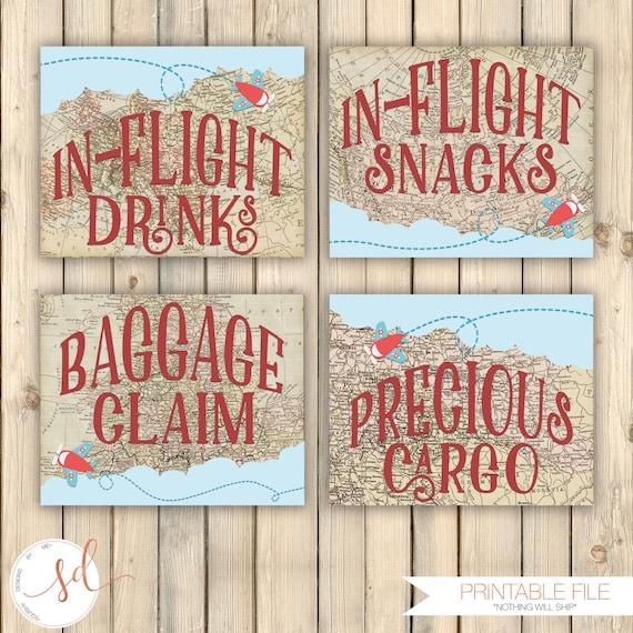 Vintage Travel Birthday Party Signs In Flight Drinks Snacks | Etsy