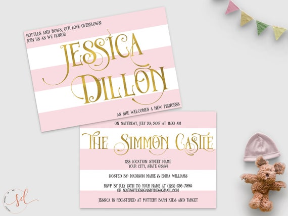 Princess Baby Shower Invitation Pink White Gold Stripes Baby Etsy