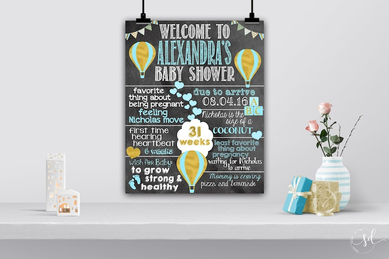 Baby Boy Hot Air Balloon Baby Shower Welcome Sign, About Pregnancy  Chalkboard, Mommy to Be Facts, Pregnancy Keepsake, Printed Poster