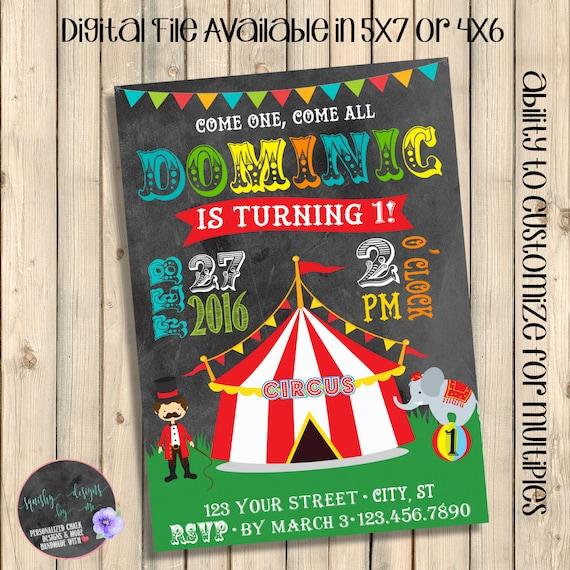Circus First Birthday Invitation Carnival Invite