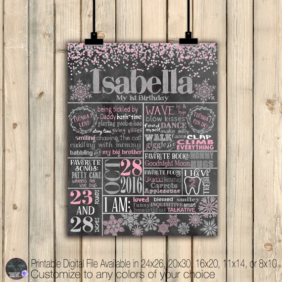 Winter Onederland First Birthday Chalkboard Poster, Pink Silver On Ederland Birthday, First 1st Birthday Board, Digital Or Printed Poster by Etsy