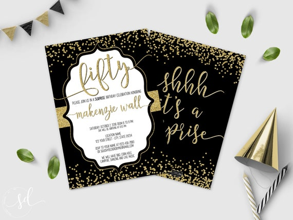 50th surprise birthday party invitation fifty and fabulous etsy