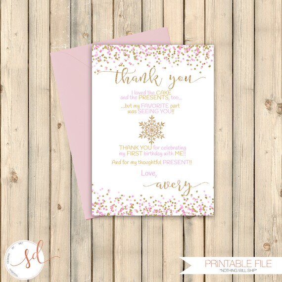 snowflake pink and gold glitter thank you note card christmas etsy