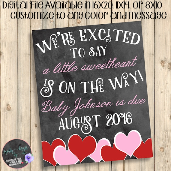 Valentine S Day Baby On The Way Announcement Future Etsy