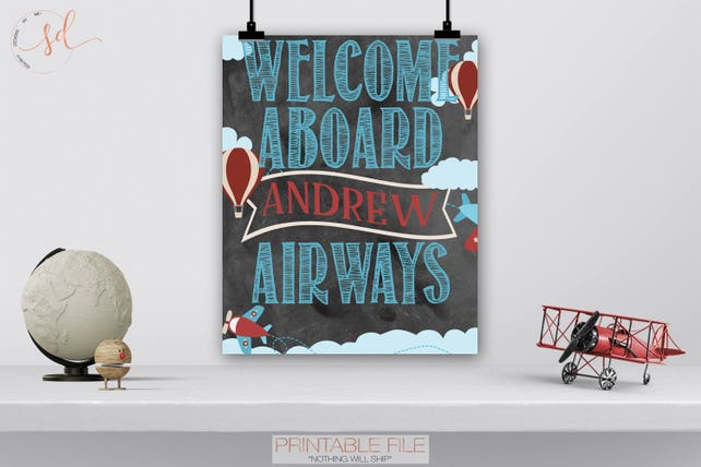 Vintage Travel Party Welcome Sign Airplane First Birthday Baby Shower Keepsake Hot Air Balloons Yard Decor Digital