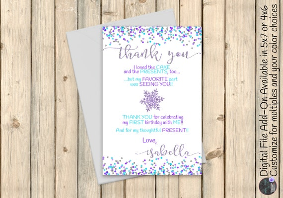Snowflake Blue Silver Aqua Thank You Note Card, Christmas Gift Thank You, Winter Wonderland Baby Shower Thank You Note Confetti DIGITAL