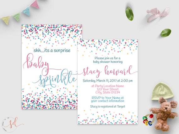 Surprise Baby Shower Invitation Confetti Baby Shower Party Etsy