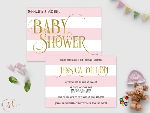 Surprise Baby Shower Invitation Pink White Gold Stripes Its Etsy