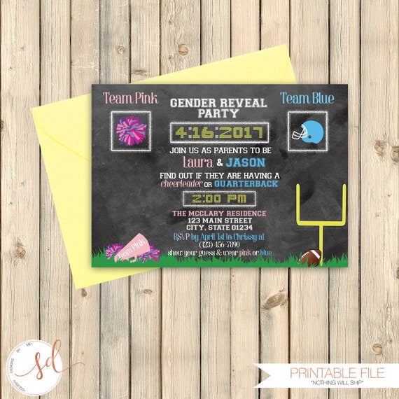 football gender reveal party invitation sports theme party etsy