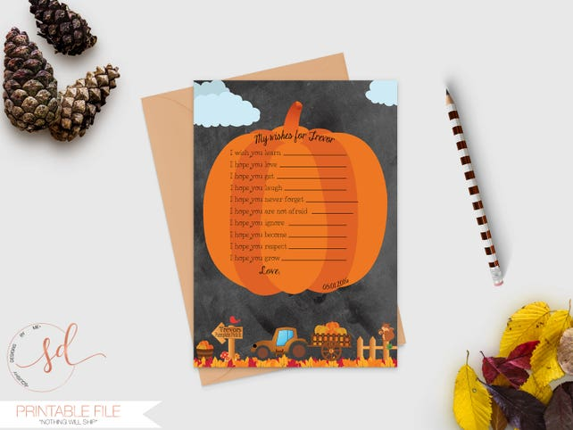 Time Capsule Message Notecard, Pumpkin First Birthday Guestbook Message Card, Fall Halloween First Birthday, Well Wishes Card, Digital
