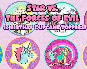 Star vs. the Forces of Evil Ready to Print Digital File Cupcakes Toppers b3ce5d8bfe872