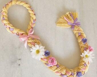 Rapunzel Ponytail Yarn Braid, Rapunzel Hair for Dress Up Halloween Costume, Disney Tangled Birthday Party