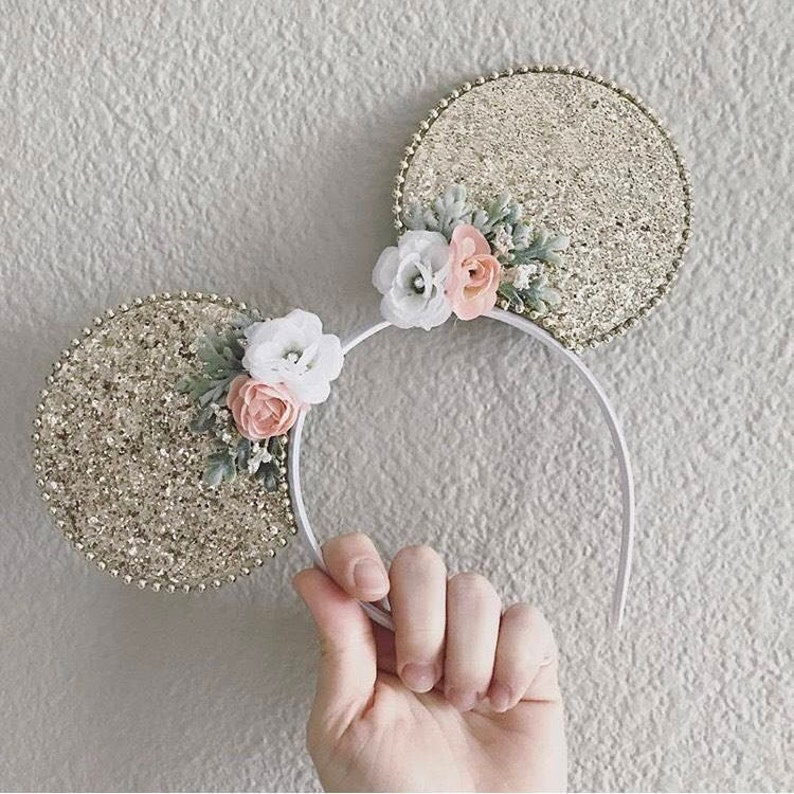 31085131d Gold Glitter Minnie Mouse Ears Silver Sparkle Mickey Mouse | Etsy
