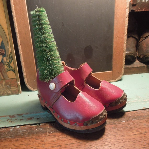 Antique Russian Children's Clogs / Handmade Red Cl