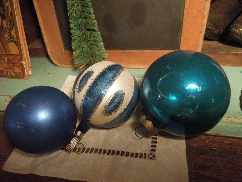 Vintage Blue Christmas Ornaments  Czech /& Shiny Brite Ornaments  Glass Christmas Tree Ornaments  Vintage Christmas Decor