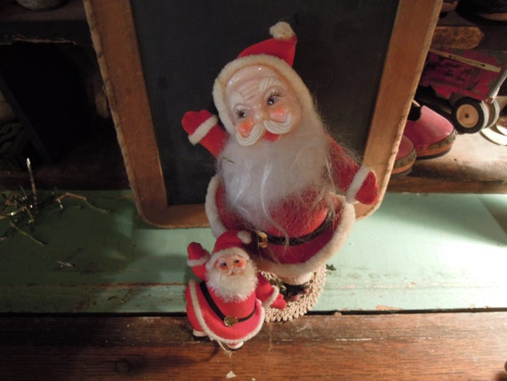 Christmas Dancing Santa.Vintage Christmas Dancing Santa And Elf Christmas Decor Holiday Decorations