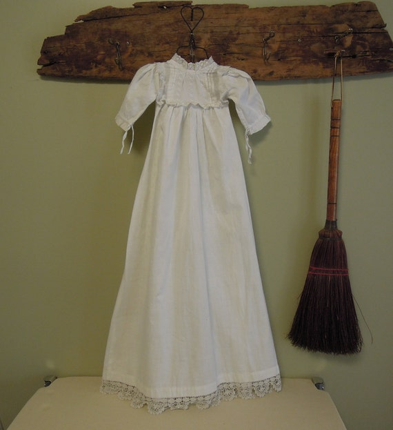 Antique Christening Gown / White Newborn Baby Gown