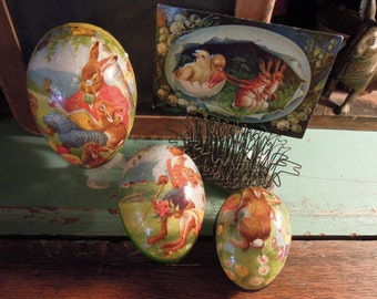 Vintage German Candy Containers / Nesting Easter Eggs / German Paper Mache Eggs / Collectible Candy Containers