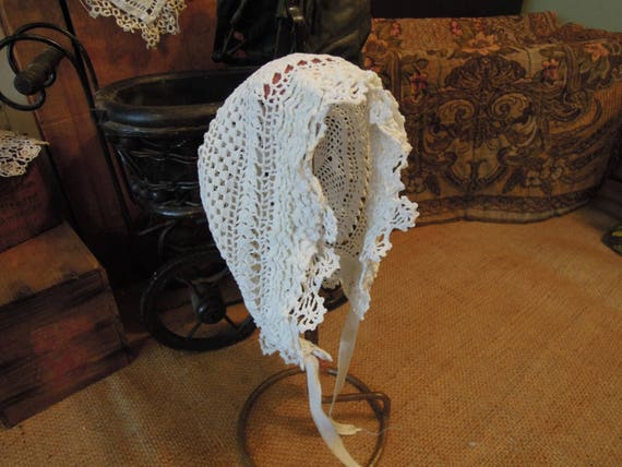 Victorian Crochet Lace Baby Bonnet / German Hand M
