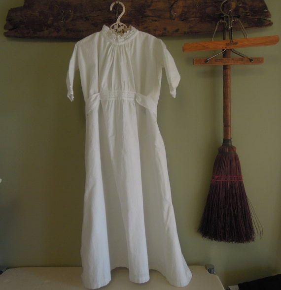 Antique Cotton Christening Gown / White Cotton Tie