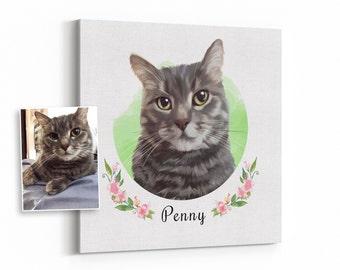 custom cat portrait, custom pet portrait, custom cat painting, cat memorial, cat loss gift, birthday gift, cat art, personalized pet