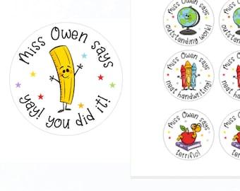 School Personalised Teacher Stickers | Personalised Teacher Merit Stickers | Personalized Teacher Stickers | Teacher Stickers