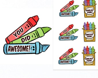 You Did Awesome and Great Job Stickers |Teacher Reward Stickers | Teacher Stickers | Reward Stickers