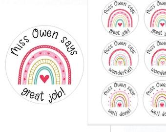 Bright Rainbow Personalised Teacher Stickers | Personalised Teacher Merit Stickers | Personalized Teacher Stickers | Teacher Stickers