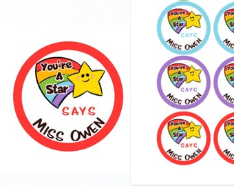 You're A Star Personalised Teacher Stickers | Personalised Teacher Merit Stickers | Personalized Teacher Stickers | Teacher Stickers