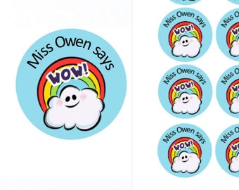 Wow Personalised Teacher Stickers | Personalised Teacher Merit Stickers | Personalized Teacher Stickers | Teacher Stickers