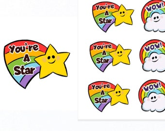 You're A Star and Wow Stickers |Teacher Reward Stickers | Teacher Stickers | Reward Stickers