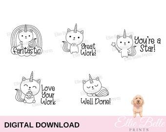 Digital Teacher Stickers | Cat Unicorn | Download | Digital  Teacher Stickers | Teacher Stamp | Teacher Merit | Digital Stamp