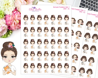 Planner Girl - Brown, Planner Stickers