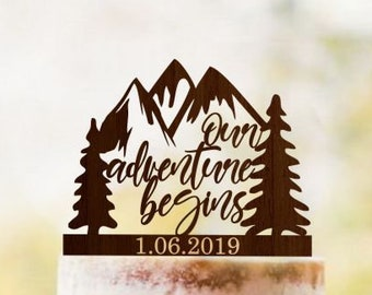 Our Adventure Begins cake topper, Travel wedding cake toppers, Mountains cake topper, Tree cake topper, Rustic wedding cake topper