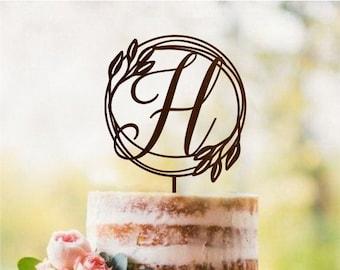 H \u0421ake topper Rustic wedding Cake Topper wood Personalized wedding cake topper H Gold Initial cake topper date single letter cake topper
