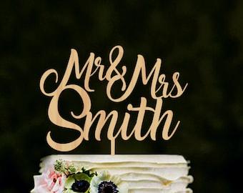 Cake topper for wedding, Custom Mr & Mrs name cake topper, rustic wedding cake topper, personalised mr mrs cake topper, cake topper gold