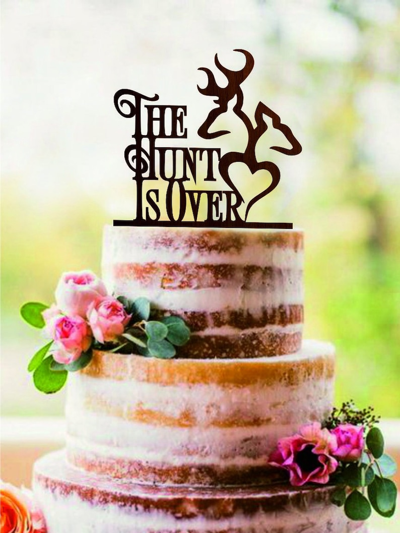 Deer The Hunt is Over Acrylic Wedding Cake Toppers