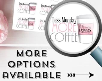 Less Monday - More Coffee | Deco Planner Sticker Mini Sheet