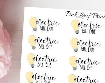 Electric Bill Due | Mini Icon Planner Sticker Sheet