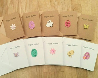 Pack of 5 handmade Happy Easter cards in white or brown