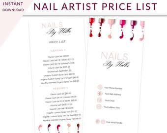 salon price menu etsy