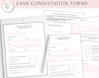 Clickable and Printable Eyelash Extension Consent Forms, Lash Extension Forms, Eyelash Extensions Technician Forms, Eyelash Extensions Forms