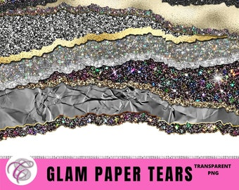 GLAM PAPER TEARS, Paper Tears Clipart, Gold Glitter Overlay Pngs, Commercial Use Gold Clip Art