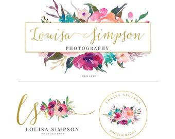Watercolor Logo, Photography Logo, Logo Design, Logo, Premade Logo, Watermark Logo, Custom Logo, Business Card, Floral Logo, 018