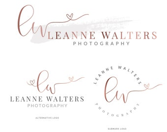 Watercolor Logo Design, Gold Logo, Logo Design, Branding kit, Calligraphy, Branding Package, Photography Logo, Watermark, Modern Logo, 020