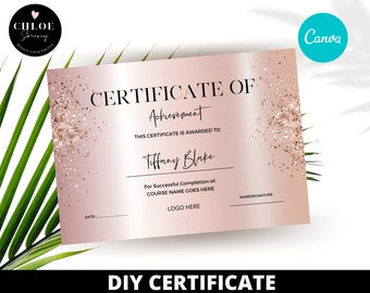Certificate of Completion Template - Lash Training Certificate - Beauty - Nails Certificate - Certificate Template Editable - Course