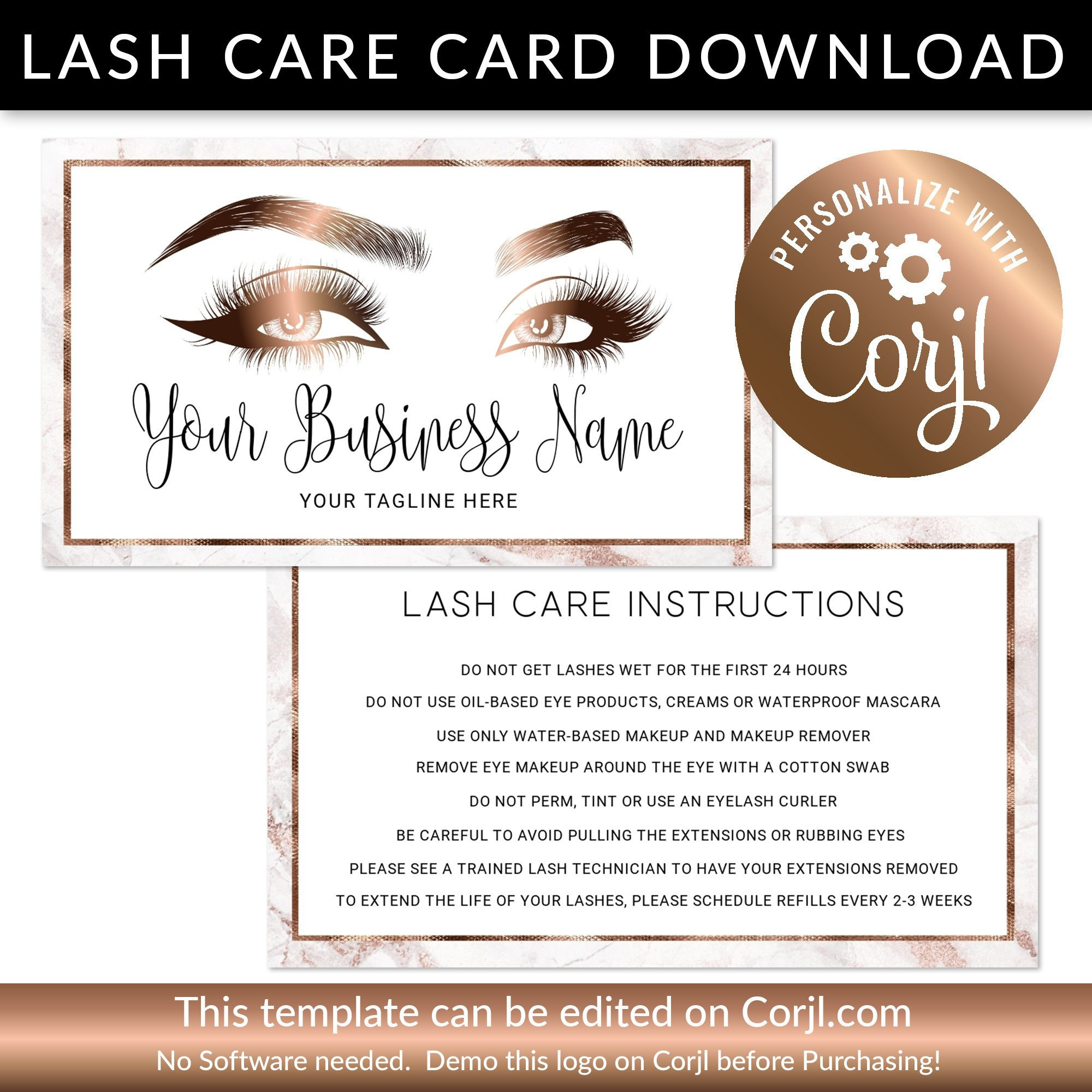 Eyelash Care Card After Care Card Marble Lash Technician Etsy