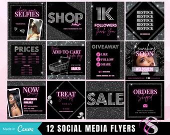12 x Social Media Flyers; Instagram Flyers; DIY Flyer Template; Hair Bundle Flyer, Beauty Flyer Template, Editable Instagram Flyer