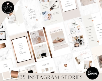 Instagram Story Canva Templates |  Marble Instagram Stories | Bronze Marble Template | Social Media Templates |